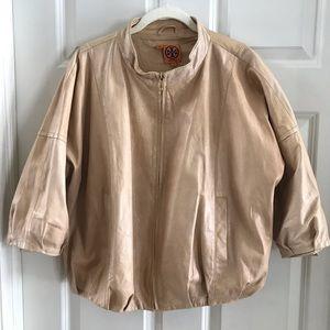 Tory Burch leather cream bomber jacket